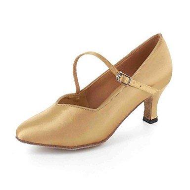 XIAMUO Anpassbare Damen Tanz Schuhe Kunstleder Kunstleder Latein Sandalen angepasste Ferse Praxis Anfänger professionelle Innen- Leistung, Mandel, uns 4-4,5/EU 34/ UK 2 -