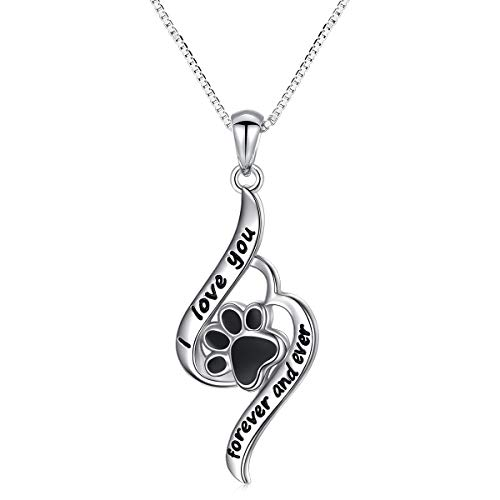 - Paw Necklace Sterling Silver I Love You Forever and Ever Puppy Cat Paw Print Necklace for Women Girl
