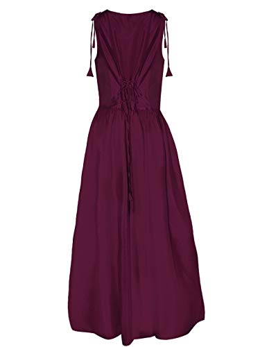 Renaissance Burgundy Anna Boho Sleeve Inspired Trim Dress Cap Peasant Kaci Over Dress Maiden Lace f1q51