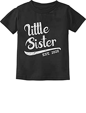 Little Sister 2020 Baby Shower Gift for Baby Girl Infant Kids T-Shirt 6M Black
