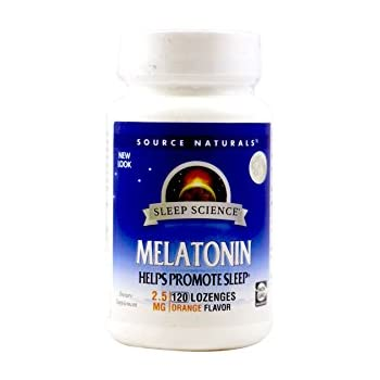 Source Naturals Melatonin, 2.5 Milligrams, Orange Flavored, 120 Lozenges.