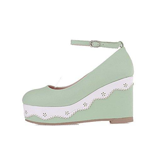 AllhqFashion Damen Rein Weiches Material Hoher Absatz Schnalle Rund Zehe Pumps Schuhe Grün