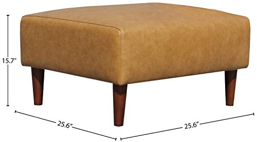 Rivet Ava Modern Leather Ottoman with Tapered Legs, 25.6