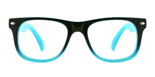 TIJN Safety Eyewear Cute Blue Square Eyeglasses Glasses with Clear Lens for Kids Boys Girls (Black-Blue, 45)