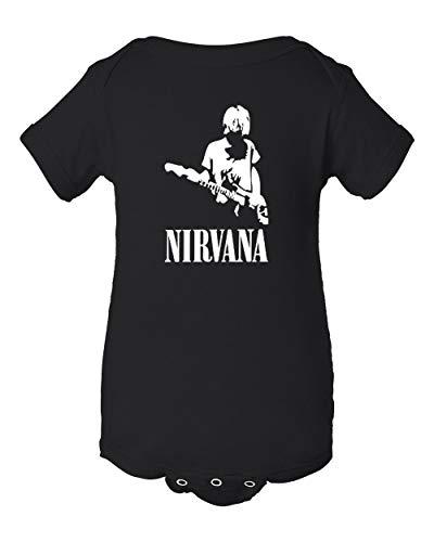 Baby T-shirt Rocks Onesie (Mari Kyrios Nirvana Cobain Baby Onesie Black Bodysuit Grunge Rock Jumper)