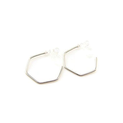 - Open Hexagon Hoop Invisible Clip On Earrings for Non-Pierced Ears, Silver-Tone