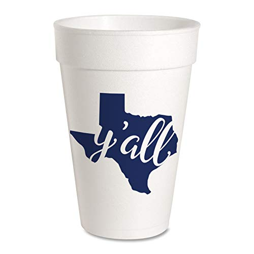 Texas Party Cups - Styrofoam 16oz 10 Pack (Texas Y'all)