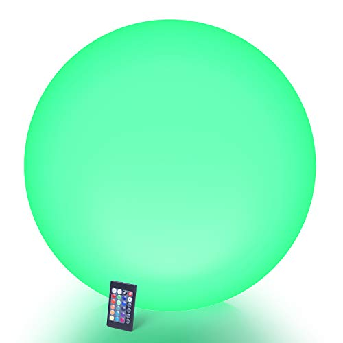 LOFTEK LED Light Up Ball : 24-inch RGB Color Changing Glow Ball with Remote Control, Cordless Floating Decor Orb, UL Listed Adapter, IP65 Protection Grade and Rechargeable Battery