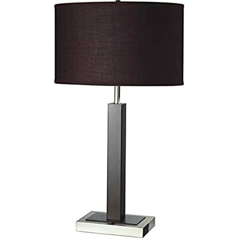 Single Light Espresso Brown Metal Table Lamp With Outlet Base
