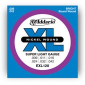 D'Addario EXL120 Nickel Wound Electric Guitar Strings, Super Light, ()