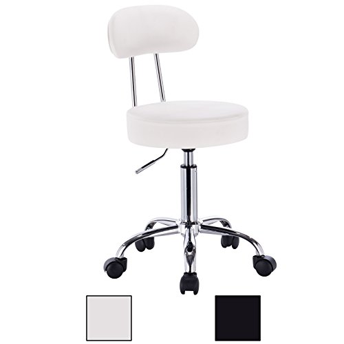 WOLTU ABSX1008whi-c 1x Faux Leather Adjustable Swivel Chair Stool with Backrest and Casters Hydraulic Gas Lift Office/Lab/Medical/Spa/Massage/Beauty/Pub Stool Seat Height:18.5″-23.2″,White