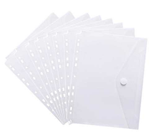 YoeeJob 11 Holes Poly Clear Envelope Binder Pockets with Hook and Loop Closure Transparent Letter Size,30 Per ()