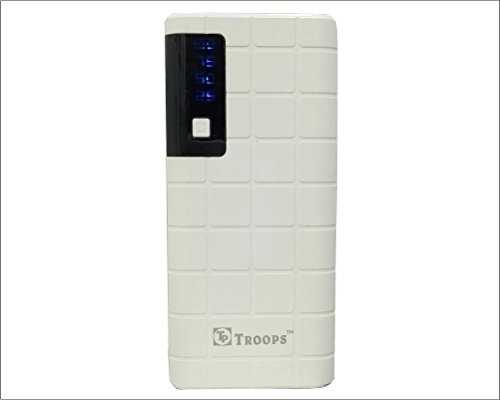 TP TROOPS 12000mAh 3 USB Port Power Bank with Torch  White