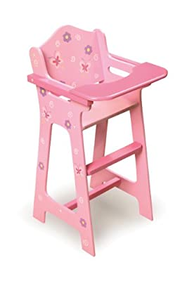 Badger Basket Blossoms And Butterflies Doll High Chair - Pinkpurple by Badger Basket