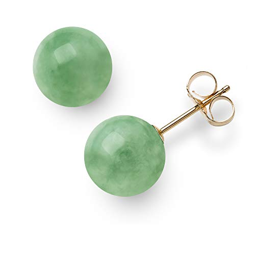 Ring Jade Earring (14K Yellow Gold Natural Green Jade Round Stud Earrings (10mm))