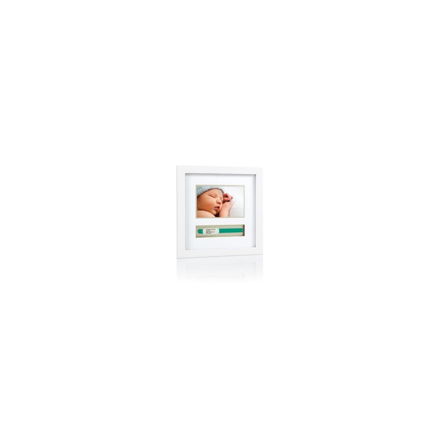 Pearhead Baby Hospital ID Bracelet and Photo Keepsake Frame, Baby Shower Gifts, Expecting Parents Gift, White