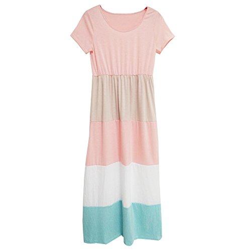 暗殺者奇跡奇跡KINDOYO 新しいファッション 半袖ビッグストライプドレスを縫って親子の服装, レディーズ/XL