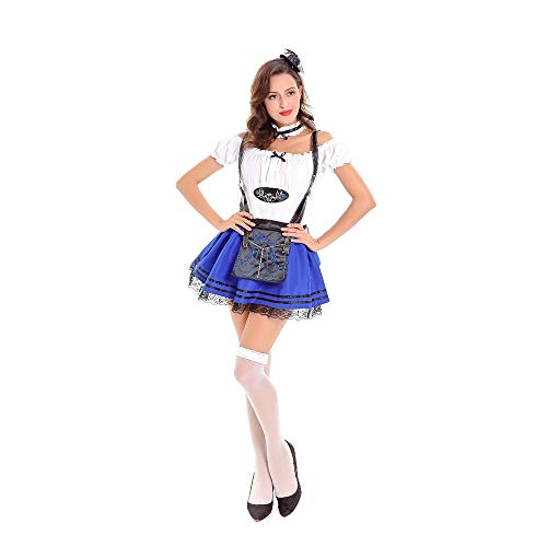 LVLUOYE Role Playing Stage Beer, Maid Service, Halloween, Dance Party Performance, Oktoberfest Uniform,Blue,M -