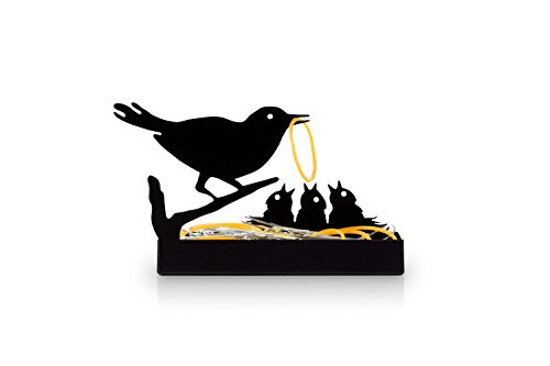 Nurture | Decorative Black Metal Birds Nest Organizer Tray| Box for Small Desk| Essentials, Paper Clips, Rubbers Bands, Erasers, Staples | Office, School | Coworker Gift ()