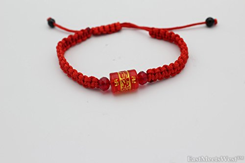 Tibetan Hand Carved Cylindrical Red Crystal 'Om Mani Padme Hum' Beads Feng Shui Wealth Health Lucky Longevity Charm String Bracelet