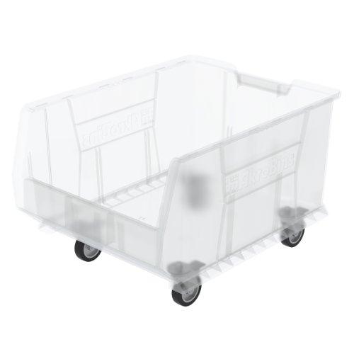 Akro-Mils 30289 Mobile Super Size Plastic Stacking Storage Akro Bin, 24-Inch x 18-Inch x 12-Inch, Clear