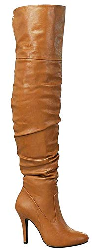 Forever Link Womens Focus-33 Fashion Stylish Pull On Over Knee High Sexy Boots, Premier Tan, 7 B(M) US