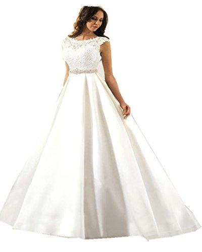XSWPL Elegant Lace Appliques Bridal Dresses Satin Chapel Train Beaded Wedding Dress with Belt 31KrqyOA1UL home Home 31KrqyOA1UL