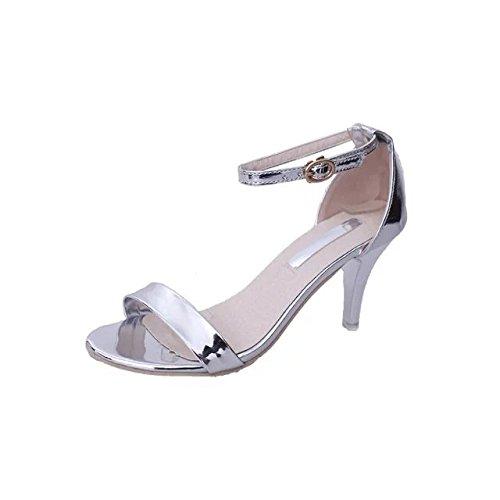 Sandales Code Partie Sac Petit Silvery Boucle Été Taille Lo Zhudj En Talon Toe Mot Petite Chaussures q0w0B6R