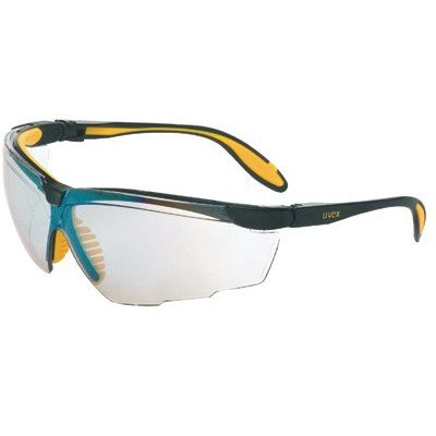 Uvex S3524 Genesis X2 Safety Eyewear, Black and Yellow Frame, SCT-Reflect 50 Ultra-Dura Hardcoat Lens
