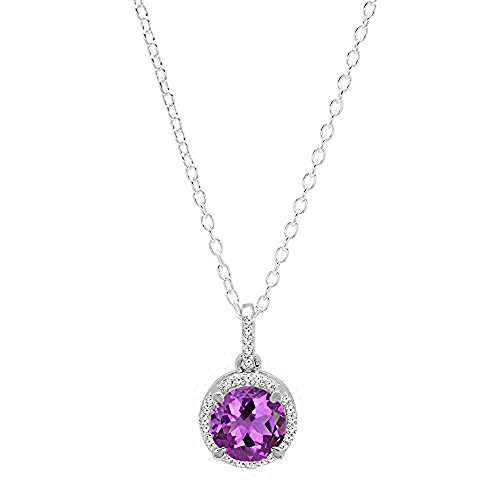 Dazzlingrock Collection 10K 6.5 MM Round Amethyst & White Diamond Ladies Halo Pendant (Silver Chain Included), White - Round Pendant Amethyst Gold