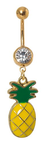Dangling Pineapple Belly Button Ring 14G 316 Stainless Steel