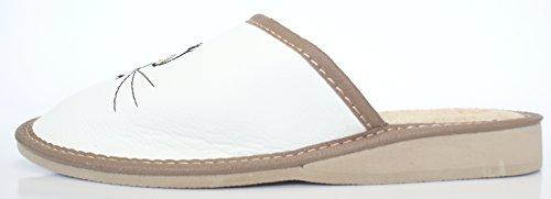 Chat en Blanc féminines Motif Un Pantoufles de des Ver 2 Feutre qualité Haute avec de wPXqZ57