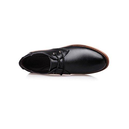 Hommes Lerther Chaussures Porter Vêtements De Cérémonie Porter Rond Souple Pointy Ceinture Boucle Coton Fond Plat Jeunesse Black SXOaWT