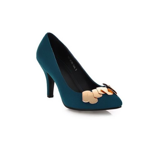 Metalornament with US Blue Po2015ted M B Solid Heel 5 High Pumps WeiPoot Toe Closed Womens 4 Frosted PU gwcqAP