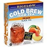 Bigelow Cold Brew Iced Tea Peach Black Tea, 6 Boxes, 6 Family Size Tea Bags Per Box
