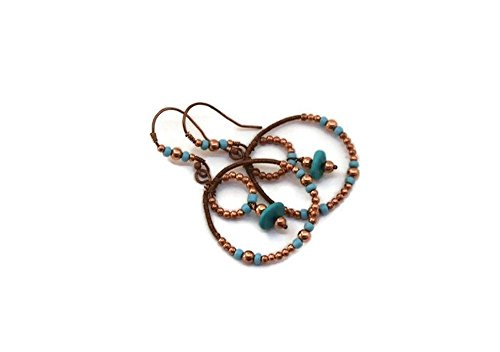Copper and Turquoise Double Hoop Earrings