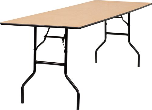 Flash Furniture 30'' x 96'' Rectangular Wood Folding Banquet Table with Clear Coated Finished Top by Flash Furniture