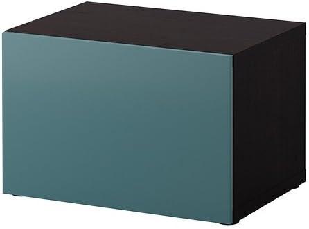 IKEA BESTA - Estantería con puerta, negro-marrón, gris ...