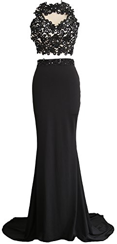 Jersey Dress Long Prom Evening Gown Piece MACloth Lace Mermaid Schwarz Women Formal 2 qIXnx8aY