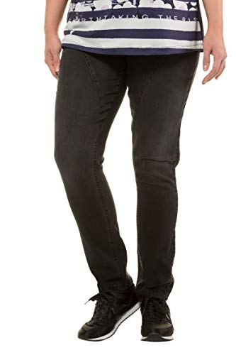 720734 Popken Ulla Pantalon Transversales Curvy Grandes Noir Femme Découpes Tailles WxAqC1wB8x
