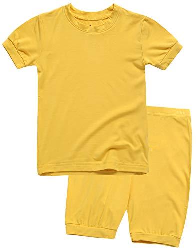 Boys Short Sleeve Sleepwear Pajamas 2pcs Set Short Colorful Mustard ()