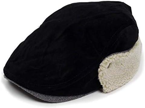 ハンチング帽 メンズ 冬 シーズン スウェード ボア フライト 耳あて ブラック 黒色 ハンチング キャップ 帽子 サイズ 58cm 調整可能