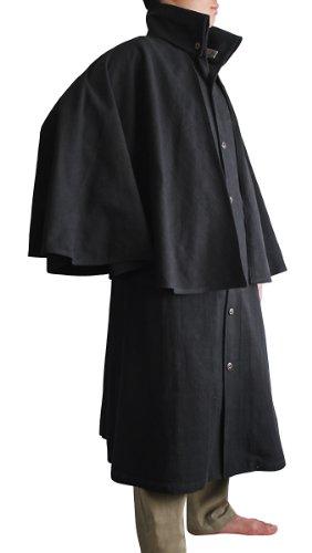 Sawan Men's ChomThong Hand Woven Cotton High Neck Inverness Coat Black