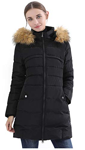 Obosoyo Women's Hooded Thickened Long Down Jacket Winter Down Parka Puffer Jacket Black L ()