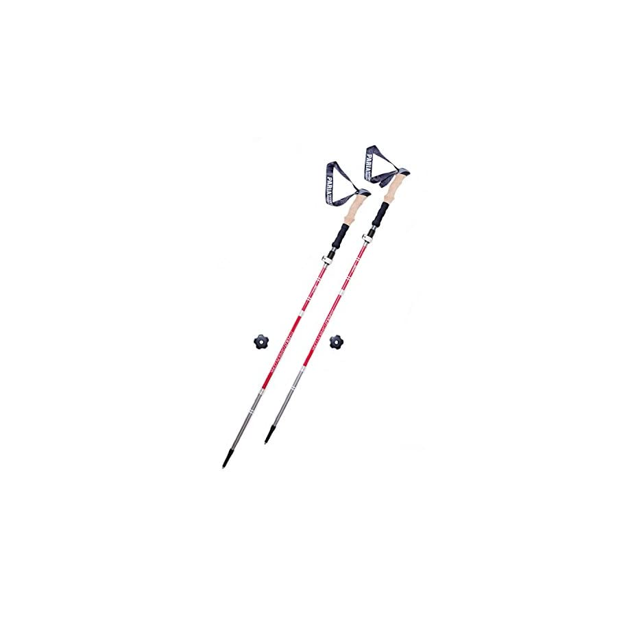 Tri Fold Carbon Cork Trekking Poles / Sticks Folding, Collapsible, Adjustable, and Ultralight Perfect for Hiking, Walking, Backpacking and Snowshoeing