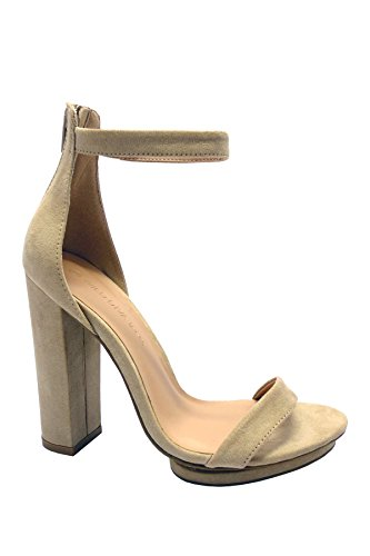 Wild Diva Women's Open Toe High Chunky Heel Ankle Strap Platform Sandal Shoes Style Pace-02 (6.5, Nutual) -