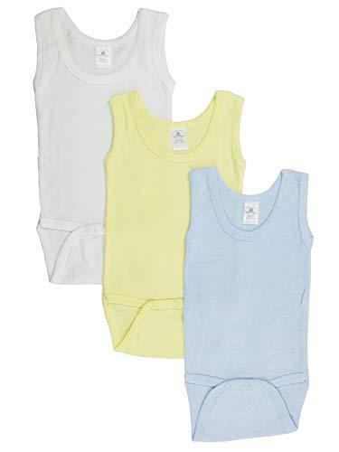 Baby Ribbed Tank Top - Baby Boy's White, Yellow, Blue Rib Knit Pastel Sleeveless Tank Top Onesie 3-Pack