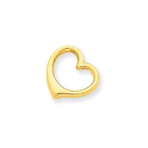 14k Yellow Gold Open Heart Slide Pendant, 10mm (14k Yellow Slide)