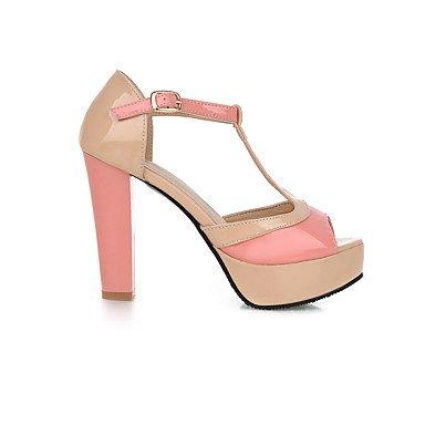LvYuan Mujer Sandalias Zapatos formales Semicuero Primavera Verano Boda Vestido Fiesta y Noche Zapatos formales Cremallera Tacón RobustoRojo blushing pink