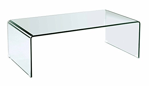 Cheap Neos Modern Furniture Creative Images International Occasion Collection Bent Glass Coffee Table, Clear
